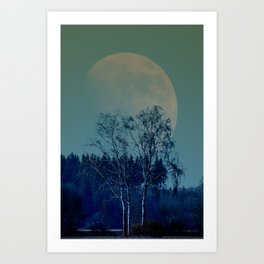Concept landscape : Moon behind the tree Art Print