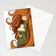Girl and white cat Stationery Cards