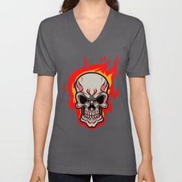 Skull Fire Human Skeleton Teeth Bones Masks Gift Unisex V-Neck