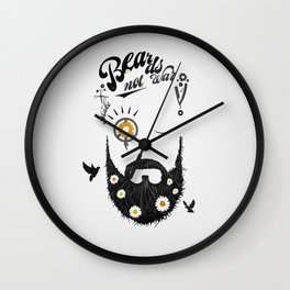 Make Beards not War (typo edition) Wall Clock