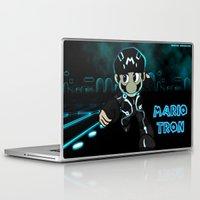 tron Laptop & iPad Skins featuring Mario Tron by Rodrigo Marckezini