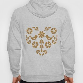 Golden heart shaped floral and bird Hoody