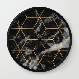 Golden deco black marble geo Wall Clock