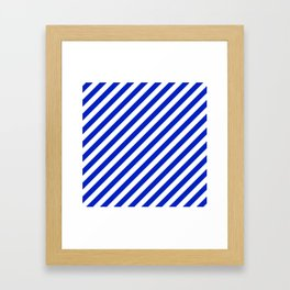 Cobalt Blue and White Wide Candy Cane Stripe Framed Art Print