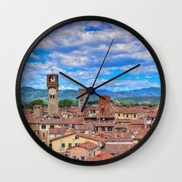 Beautiful medieval town Lucca in Tuscany. Wall Clock