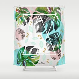 Monstera leaves watercolor Shower Curtain