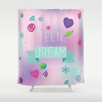 teen titans Shower Curtains featuring Teen Dream by Elyse Beisser
