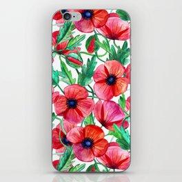 Plenty of Poppies - white iPhone Skin