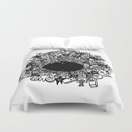 Monsters falling in hole, doodle art Duvet Cover