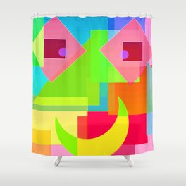 Abstract Geometry Face Shower Curtain