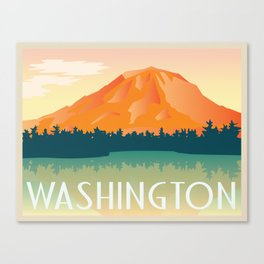 WASHINGTON STATE - Mount Rainer, Vintage Inspired Postcard Canvas Print