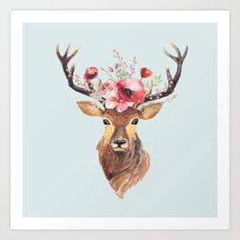 bohemian deer 2 art print - Reindeer Images 2