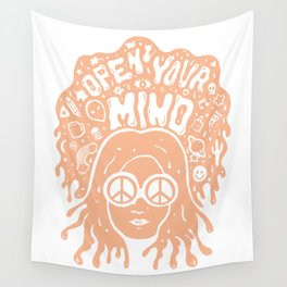 Open Your Mind in orange Wall Tapestry