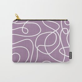 Doodle Line Art   White Lines on Soft Purple Carry-All Pouch