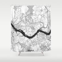 seoul Shower Curtains featuring Seoul Map Gray by City Art Posters