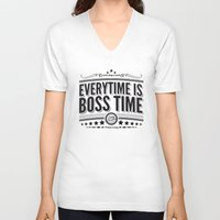 springsteen V-neck T-shirts featuring Every time is Boss time (Springsteen tribute) by My Brave Face