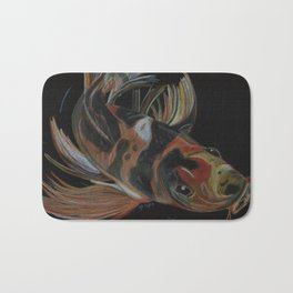 Koi fish on black Bath Mat