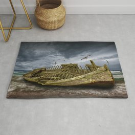 Boat Shipwreck on the Beach Shore Rug