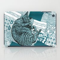 calvin and hobbes iPad Cases featuring Blue Hobbes by Maritsa Patrinos