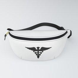 Caduceus Medical Symbol Black Fanny Pack