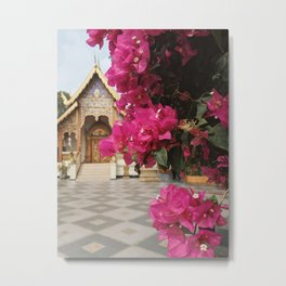 Temple with Flowers Metal Print