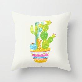 Bright cactus art. Colourful pot of plants. Throw Pillow