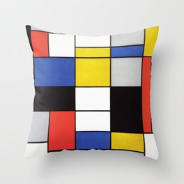 Mondrian's Composition A (High Resolution) Throw Pillow