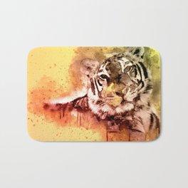 Tiger Watercolor, Painted Tiger Art, Cool Tiger, Splatter Tiger Design, Tiger Decor, Vintage Tiger Bath Mat