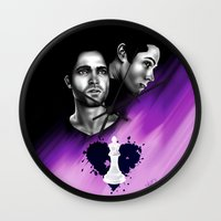 sterek Wall Clocks featuring Sterek -BlackHeart by xKxDx