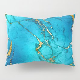 Gold And Teal Blue Indigo Malachite Marble Pillow Sham