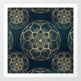 Mandala Night Blue Art Print