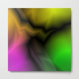 Neon space sparkling lightning from pink zigzags and dark spots. Metal Print