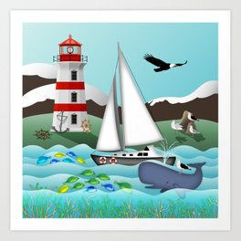 Coastal Sailing - Nautical Landscape Scene Art Print
