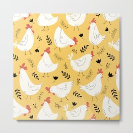 Lovely Little Hens Metal Print