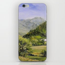 Pastures and Mount Mansfield Oil Landscape Vermont Painting iPhone Skin