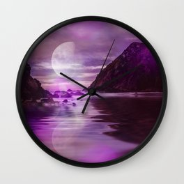 Full Moon over Calm Waters in purple Light Wall Clock