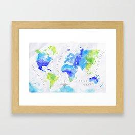 Watercolor world map green Framed Art Print