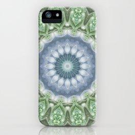 Slate Blue and Green Mandala iPhone Case
