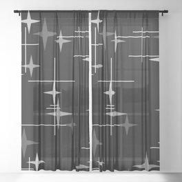 Mid Century Modern Stars (Black) Sheer Curtain