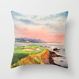 Pebble Beach Golf Course 7th Hole Throw Pillow