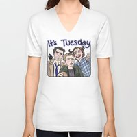 enerjax V-neck T-shirts featuring It's Tuesday by enerjax