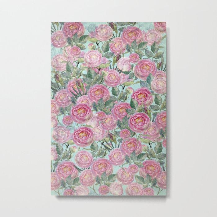 Vintage Roses Mint Metal Print
