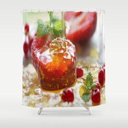 Summer Love strawberries with honey Shower Curtain