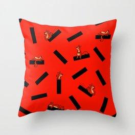 timber squirel - red - 80s abstrakt memphis milano Throw Pillow