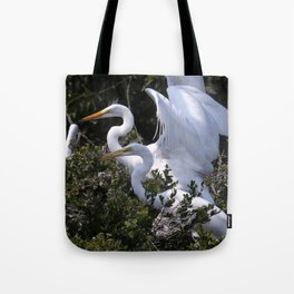 Egret Nest with Fledglings in Rookery Tote Bag