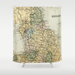 North England and Wales Vintage Map Shower Curtain