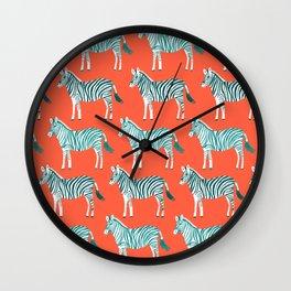 Zebra Parade Pattern Flame Teal Wall Clock