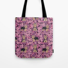 Yorkie cherry blossoms yorkshire terrier cute dog pattern pet friendly dog art Tote Bag