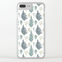 turquoise fern pattern Clear iPhone Case