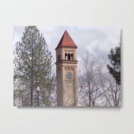 Beautiful Old Clock Tower In Spokane, Washington, Vintage Train Station Clock Tower Metal Print